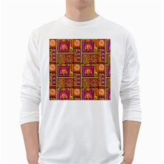 Traditional Africa Border Wallpaper Pattern Colored 3 White Long Sleeve T Shirts