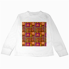 Traditional Africa Border Wallpaper Pattern Colored 3 Kids Long Sleeve T Shirts