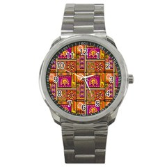 Traditional Africa Border Wallpaper Pattern Colored 3 Sport Metal Watch