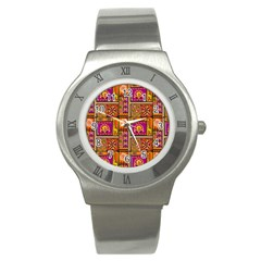 Traditional Africa Border Wallpaper Pattern Colored 3 Stainless Steel Watch