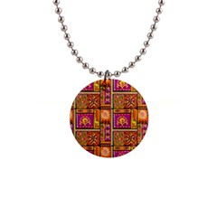Traditional Africa Border Wallpaper Pattern Colored 3 Button Necklaces