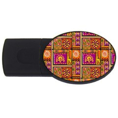 Traditional Africa Border Wallpaper Pattern Colored 3 Usb Flash Drive Oval (4 Gb)