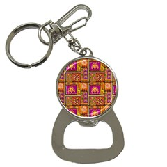 Traditional Africa Border Wallpaper Pattern Colored 3 Bottle Opener Key Chains