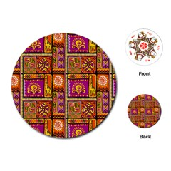 Traditional Africa Border Wallpaper Pattern Colored 3 Playing Cards (round)