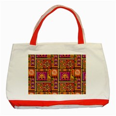 Traditional Africa Border Wallpaper Pattern Colored 3 Classic Tote Bag (red)