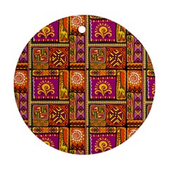 Traditional Africa Border Wallpaper Pattern Colored 3 Round Ornament (two Sides)