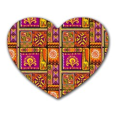 Traditional Africa Border Wallpaper Pattern Colored 3 Heart Mousepads