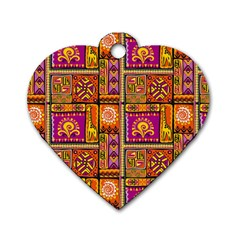 Traditional Africa Border Wallpaper Pattern Colored 3 Dog Tag Heart (one Side)