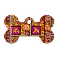 Traditional Africa Border Wallpaper Pattern Colored 3 Dog Tag Bone (two Sides)
