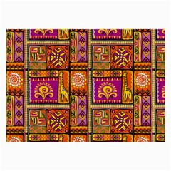 Traditional Africa Border Wallpaper Pattern Colored 3 Large Glasses Cloth (2 Side)