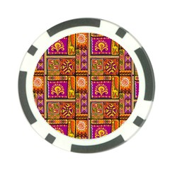 Traditional Africa Border Wallpaper Pattern Colored 3 Poker Chip Card Guard