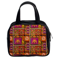 Traditional Africa Border Wallpaper Pattern Colored 3 Classic Handbags (2 Sides)