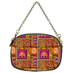 Traditional Africa Border Wallpaper Pattern Colored 3 Chain Purses (one Side)
