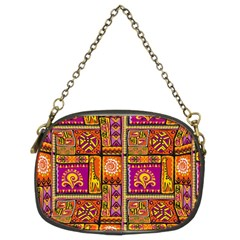 Traditional Africa Border Wallpaper Pattern Colored 3 Chain Purses (two Sides)  by EDDArt