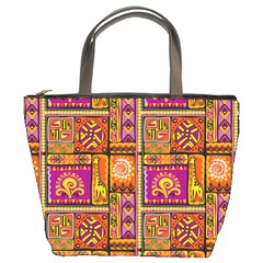 Traditional Africa Border Wallpaper Pattern Colored 3 Bucket Bags