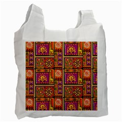 Traditional Africa Border Wallpaper Pattern Colored 3 Recycle Bag (one Side)