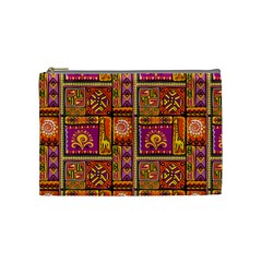 Traditional Africa Border Wallpaper Pattern Colored 3 Cosmetic Bag (medium)