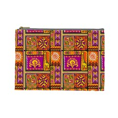 Traditional Africa Border Wallpaper Pattern Colored 3 Cosmetic Bag (large)