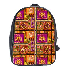 Traditional Africa Border Wallpaper Pattern Colored 3 School Bag (large)