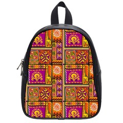 Traditional Africa Border Wallpaper Pattern Colored 3 School Bag (small)