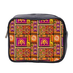 Traditional Africa Border Wallpaper Pattern Colored 3 Mini Toiletries Bag 2 Side