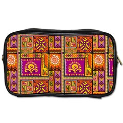 Traditional Africa Border Wallpaper Pattern Colored 3 Toiletries Bags 2 Side