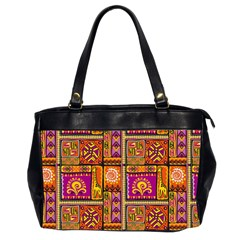 Traditional Africa Border Wallpaper Pattern Colored 3 Office Handbags (2 Sides)