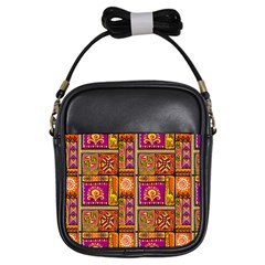 Traditional Africa Border Wallpaper Pattern Colored 3 Girls Sling Bags