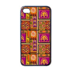 Traditional Africa Border Wallpaper Pattern Colored 3 Apple Iphone 4 Case (black)