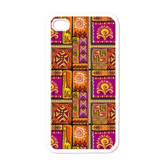 Traditional Africa Border Wallpaper Pattern Colored 3 Apple Iphone 4 Case (white)