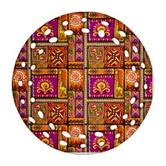 Traditional Africa Border Wallpaper Pattern Colored 3 Ornament (round Filigree)