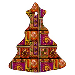 Traditional Africa Border Wallpaper Pattern Colored 3 Ornament (christmas Tree)
