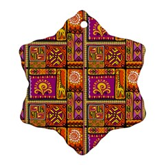 Traditional Africa Border Wallpaper Pattern Colored 3 Snowflake Ornament (two Sides)