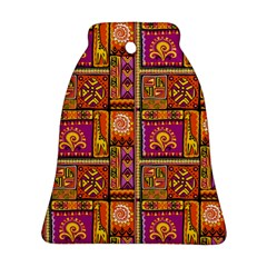 Traditional Africa Border Wallpaper Pattern Colored 3 Bell Ornament (two Sides)