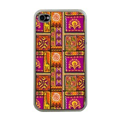 Traditional Africa Border Wallpaper Pattern Colored 3 Apple Iphone 4 Case (clear)