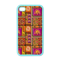 Traditional Africa Border Wallpaper Pattern Colored 3 Apple Iphone 4 Case (color)