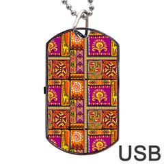 Traditional Africa Border Wallpaper Pattern Colored 3 Dog Tag Usb Flash (one Side)