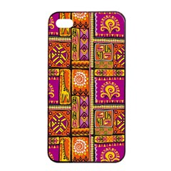 Traditional Africa Border Wallpaper Pattern Colored 3 Apple Iphone 4/4s Seamless Case (black)