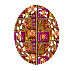 Traditional Africa Border Wallpaper Pattern Colored 3 Ornament (oval Filigree)