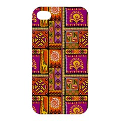 Traditional Africa Border Wallpaper Pattern Colored 3 Apple Iphone 4/4s Premium Hardshell Case