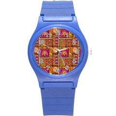 Traditional Africa Border Wallpaper Pattern Colored 3 Round Plastic Sport Watch (s)