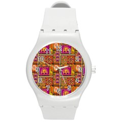 Traditional Africa Border Wallpaper Pattern Colored 3 Round Plastic Sport Watch (m)