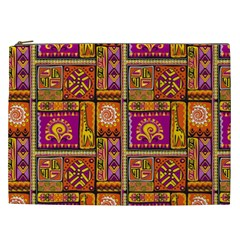 Traditional Africa Border Wallpaper Pattern Colored 3 Cosmetic Bag (xxl)
