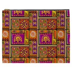 Traditional Africa Border Wallpaper Pattern Colored 3 Cosmetic Bag (xxxl)