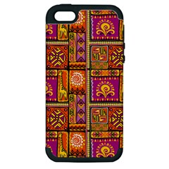 Traditional Africa Border Wallpaper Pattern Colored 3 Apple Iphone 5 Hardshell Case (pc+silicone)