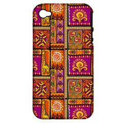 Traditional Africa Border Wallpaper Pattern Colored 3 Apple Iphone 4/4s Hardshell Case (pc+silicone)