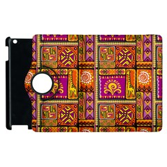 Traditional Africa Border Wallpaper Pattern Colored 3 Apple Ipad 2 Flip 360 Case