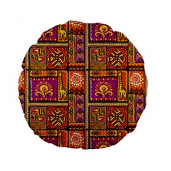 Traditional Africa Border Wallpaper Pattern Colored 3 Standard 15  Premium Round Cushions