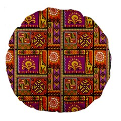 Traditional Africa Border Wallpaper Pattern Colored 3 Large 18  Premium Round Cushions