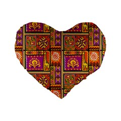 Traditional Africa Border Wallpaper Pattern Colored 3 Standard 16  Premium Heart Shape Cushions